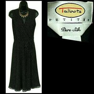 Talbots Petites Gold Fleck Silk Sleeveless Dress 2